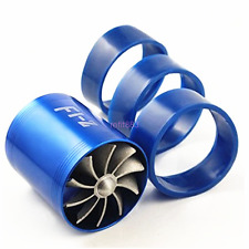 NEW Blue Car Rubber Double Turbo Turbine Charger Cool Air Intake Fuel Gas Fan