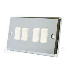 Polished Mirror Chrome Classical 4 Gang Switch -10 Amp CPC4GSWIWH