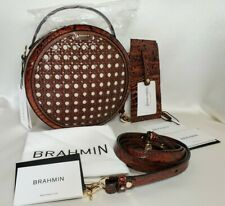 Brahmin Pecan Lima Croco Embossed Leather Lane Round Crossbody Bag