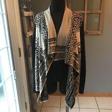 Lucky Brand Black Beige Aztec Cotton Waterfall Open Front Cardigan Sweater M