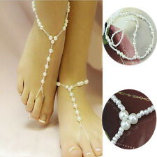 Chic Barefoot Sandal Bridal Beach Pearl Foot Jewelry Anklet Chain