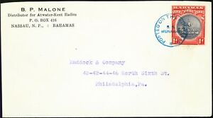 Bahamas Undated Cover to Philadelphia 1d SG126 Tied POSTED ON THE HIGH SEAS C...