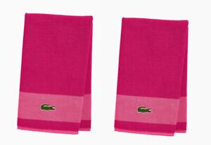 "Lot Of 2 Lacoste Bath Towels 30""x52"" Magenta 100% Cotton w Iconic Crocodile NEW"