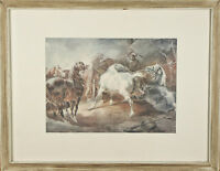 """""""Fighting Horses"""" By Theodore Gericault Framed Lithograph 15 1/2""""x19 1/2"""""""