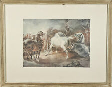 """Fighting Horses"" By Theodore Gericault Framed Lithograph 15 1/2""x19 1/2"""