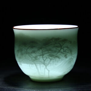 Tea cups Jingdezhen ceramic tea cup 120ml tea cups Shadow Green sculpture cups