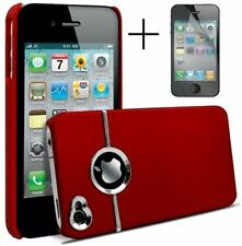 RED & SILVER CHROME HARD CASE FOR IPHONE 4 4S 4G With Screen Protector & Cloth