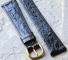 Genuine Crocodile black 19mm watch strap NOS vintage European made 1960s/70s