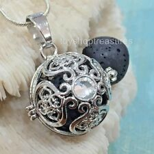 Rhinestone Crystal Aromatherapy diffuser Necklace Essential Oil Lava