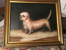 Original Oil Painting On Canvas DANDIE DANDY  DIMONT Long Hairy Terrier Dog