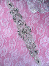 """DH35 Pearl Applique Crystal Clear Silver Beaded Rhinestone Patch 11"""""""