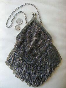 Antique Silver Floral Frame Crochet Iridescent Purple Bead Long Fringe Purse