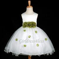 Ivory Color Petals Baby Wedding Flower Girl Dress Easter 6M 12M 18M 2 3/4 6 8 10