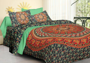 King Size Bedspread &Pillow Cover Mandala Bedcover Throw Bedding Coverlet Indian