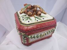 Fitz Floyd Equestrian Large Square Covered Box & Lid Acorns Leaves So Nice