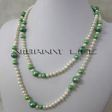 "44"" 5-10mm White Green Multi Color Freshwater Pearl Necklace Strand Jewelry U"