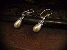 Vintage Pearl Drop with Filigree Cap Silver Hook Pierced Earrings