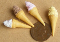1:12 Four Different Ice Cream Cone Flavours Dolls House Miniature Food Accessory