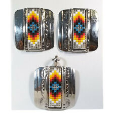 Silver Pendant and Earrings Set Handcrafted Navajo Mosaic Beaded Nickel