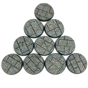 Stone City - Round Resin Bases 25 mm - 10 Painted/Unpainted Bases for Warhammer