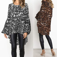 UK 8-24 Women Elegant Leopard Printed Ruffled Sleeve Loose Tops T Shirt Blouse