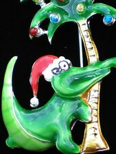 ISLAND LIFE PALM TREE CHRISTMAS SANTA HAT CROCODILE ALLIGATOR PIN BROOCH JEWELRY
