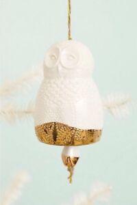 Anthropologie Home Decorative Owl Bell Sylvan Hanging Owl Bell Ornament Ceramic