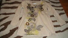 NEW NWOT EURO NEXT 104 4 YRS 4T BROWN FLORAL BEADED TOP SHIRT