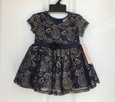 NWT! Nanette Lepore Girls 1078434 Navy Blue Gold Floral Lace HOLIDAY Dress, 12M