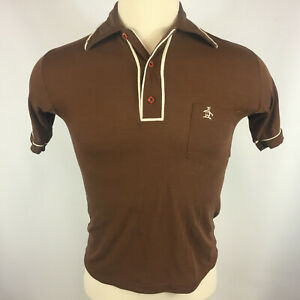 RETRO Chocolate Brown Early 1970/'s Polo Style Zip Up Bowling Shirt