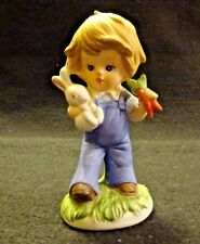 Vintage Homco Boy Bisque Porcelain Figurine Blue Overalls Easter Bunny Rabbit