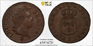 FRANCE LOUIS XV 1770-S SOL COPPER COIN, ALMOST UNCIRCULATED PCGS CERTIFIED AU53