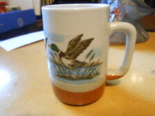 Otagiri Hand Crafted Brown Stoneware Mug Flying Mallard Ducks~Japan