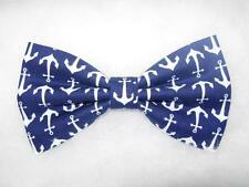 Anchor Bow Tie / Nautical White Anchors on Navy Blue / Pre-tied Bow tie