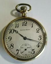 Gold Panama Pocket Watch Antique 1919 South Bend