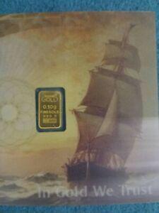 1 x 0,1g Gold Barren Blister 999,9er Zertifikat Top Anlage Nadir Schein