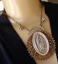 Vintage Necklace Huge Rhinestone Our Lady of Guadalupe Religious Medal Pendant