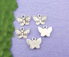 70 PCs Silver Tone Butterfly Drops 10x13mm LEADFREE