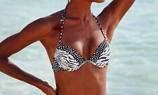 New VICTORIA'S SECRET The Tease Halter Bikini Top ~ Zebra/Pebble Dot ~ 34B