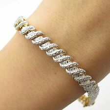 925 Sterling Silver Gold Plated Real Diamond Accent Link Bracelet 7 3/4""