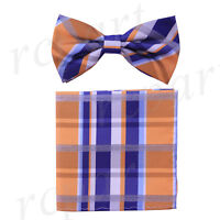 New Men's Pre-tied Bow tie & hankie blue orange plaids checkers formal