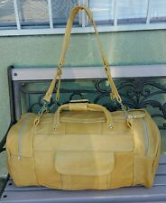 Authentic handmade 100% light yellow leather travel/gym men's duffle bag