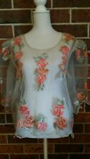 Vintage SHEER APPLIQUE Organza BLOUSE up to size 14