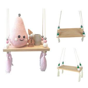 Cute Wooden Bead Wall Hanging Shelf Display Rack Children Kids Room Decorate