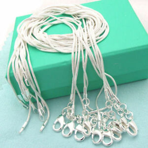 """Fashion 1MM 2MM STERLING SILVER SNAKE CHAIN NECKLACE 16 18 20 22 24 26 28"""" INCH"""