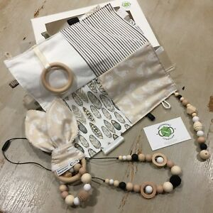 Unisex Gift Boxed 3 Piece Sets, Natural Earth Tones,Wood & Silicone, Quality H/M