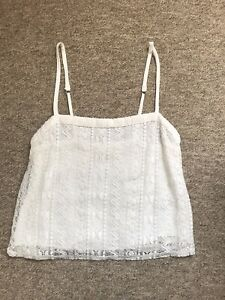 Women's Hollister White Lace Strappy Top Size Small 8 / 10