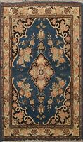 Antique Floral Kirman Hand-knotted Area Rug Wool Oriental NAVY BLUE Carpet 2'x3'