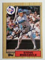 1987 Topps Steve Buechele Auto Autograph Card Rangers Signed #176