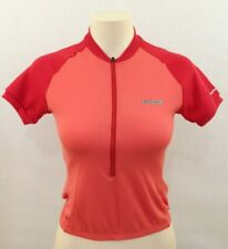 HIND Women's Orange Red Short Sleeve 1/2 Zip Up Cycling Jersey XS Made in USAGoo